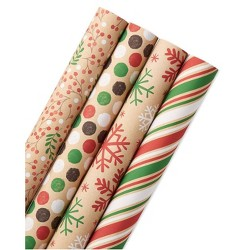 4ct 80 sq ft Reversible Snowflakes and Polka Dots Gift Wrap - American Greetings