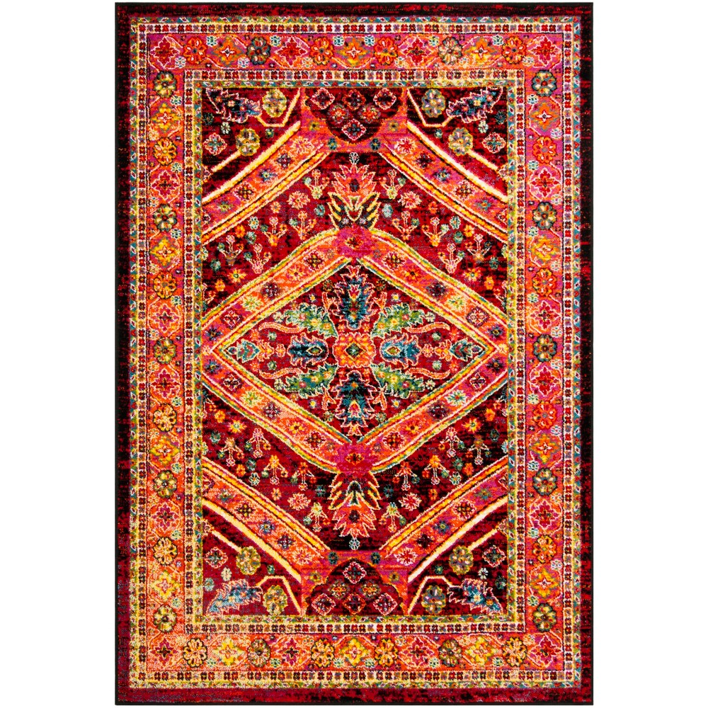 6'X9' Tribal Design Loomed Area Rug Black/Light Orange - Safavieh