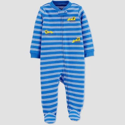 Baby Boys' Striped Construction One Piece Pajamas - Just One You® made by carter's Yellow 3M