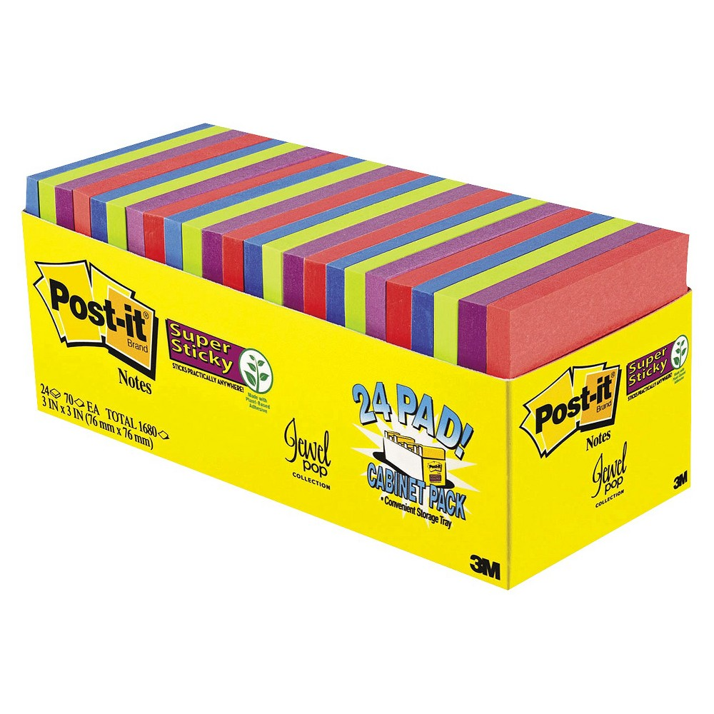 Post-it Super Sticky Notes - Assorted (24 Pads Per Box)