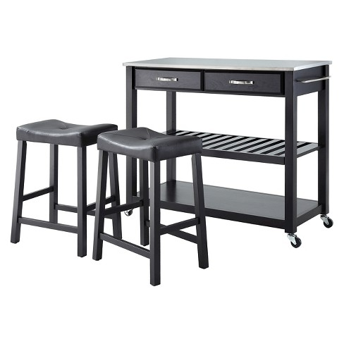 """Stainless Steel Top Kitchen Cart/Island - Black with 24"""" Black Upholstered Saddle Stools - Crosley - image 1 of 4"""