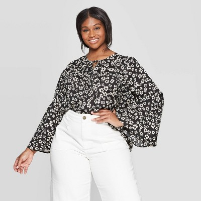 Women's Plus Size Floral Print Long Sleeve V Neck Soft Ruffle Blouse   Who What Wear White/Black by Neck Soft Ruffle Blouse