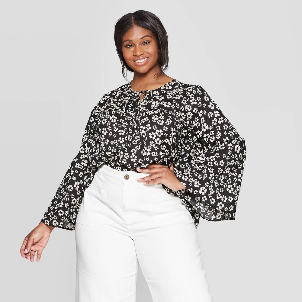591b1038419b34 Womens Plus Size Floral Print Long Sleeve V Neck Soft Ruffle Blouse Who  What Wear WhiteBlack X