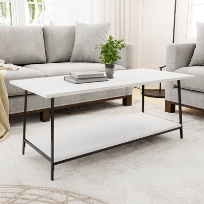 Eliza Metal and Wood Coffee Table with Storage Shelf - Brookside Home