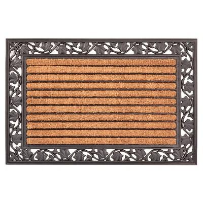 HomeTrax Cocoa Mat Doormat - Cocoa with Ivy Leaf (24  x 36 )