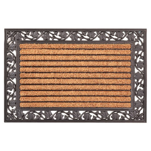 "HomeTrax Cocoa Mat Doormat - Cocoa with Ivy Leaf (24"" x 36"") - image 1 of 2"