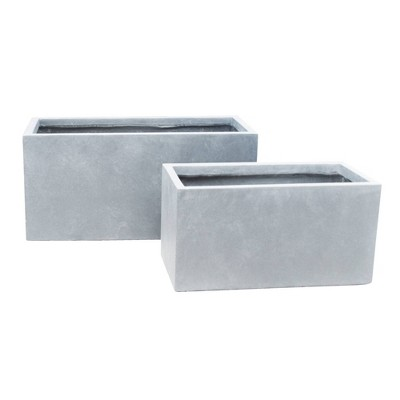 Set of 2 Kante Lightweight Outdoor Long Low Granite Concrete Rectangular Planters Slate Gray - Rosemead Home & Garden, Inc.