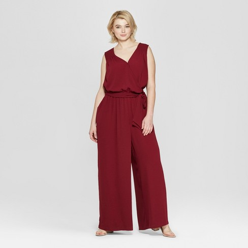 9293d87d439 Women s Plus Size Sleeveless V-Neck Woven Jumpsuit - Ava   Viv™ Burgundy