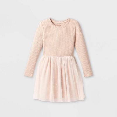 Girls' Long Sleeve Printed Cozy Tulle Dress - Cat & Jack™