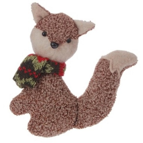 """Raz Imports 4.75"""" Brown Plush Fox with Red and Green Scarf Christmas Ornament - image 1 of 1"""