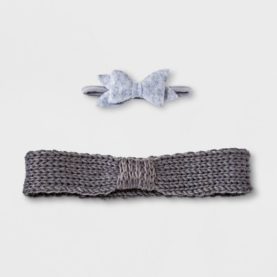 Baby Girls' 2pk Bow Headband Set - Cloud Island™ Gray