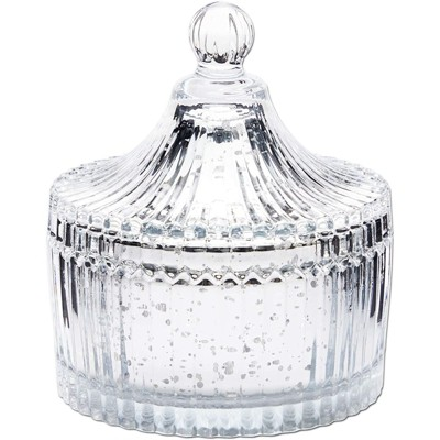 Farmlyn Creek Silver Mercury Glass Canister, Decorative Jar Container for Bathroom (4 In)