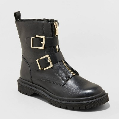 Women's Shiloh Double Buckle Combat Boots - Universal Thread™ Black