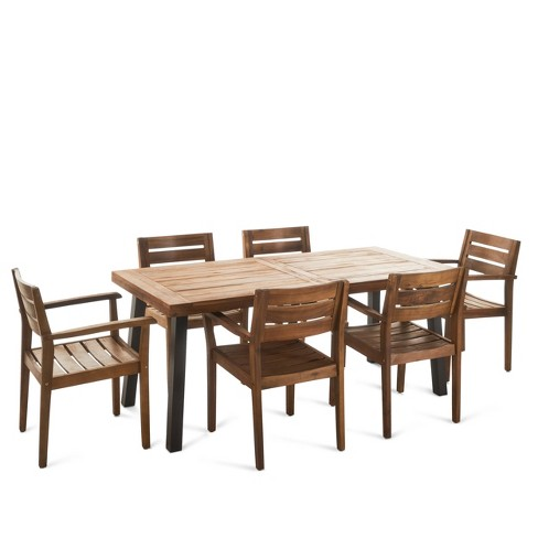 Avon 7pc Acacia Wood Dining Set - Teak - Christopher Knight Home - image 1 of 4