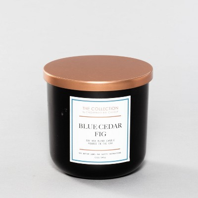 12oz Lidded Glass Jar 2-Wick Candle Blue Cedar Fig - The Collection By Chesapeake Bay Candle