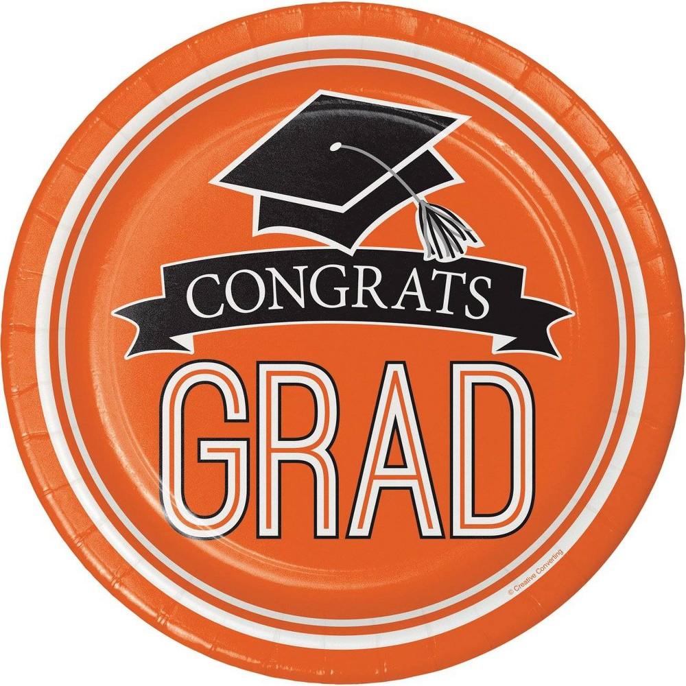 54ct Graduation School Spirt Dinner Plates Orange