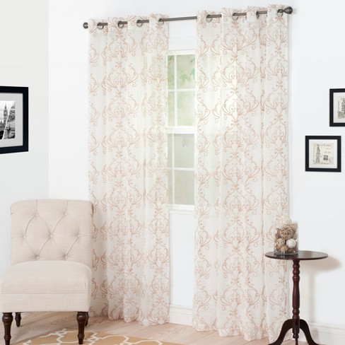 "Yorkshire Home Valencia Embroidered Curtain Panel - 108"" - Taupe"" - image 1 of 4"