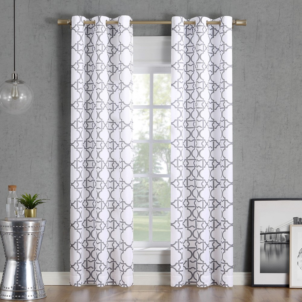 "Image of ""40x63"""" Barkley Trellis Semi-Sheer Grommet Curtain Panel Gray-No. 918"""