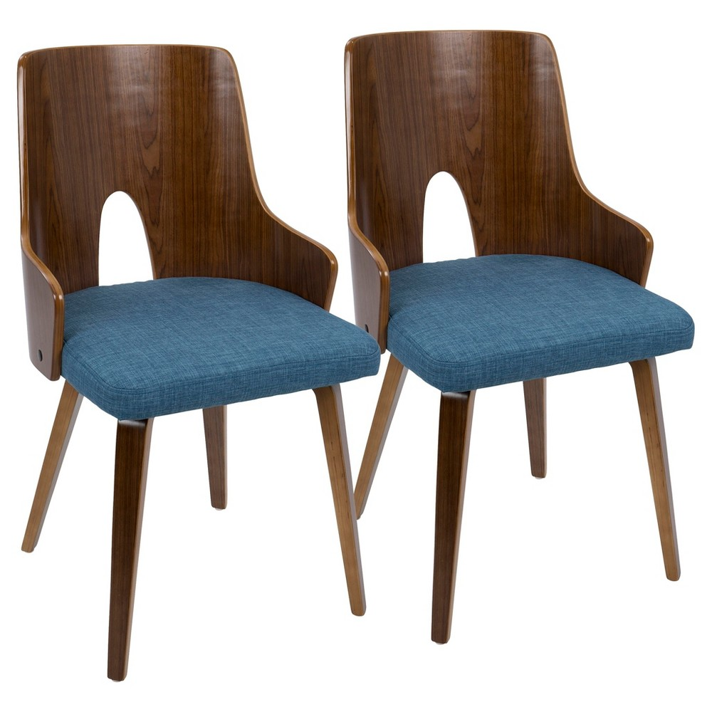 Ariana Mid - Century Modern Dining Chair (Set of 2) - Walnut And Blue - Lumisource