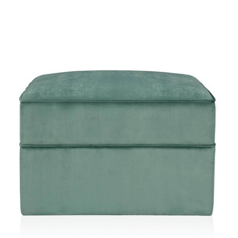 Juliette Velvet Ottoman with Hidden Casters Seafoam Green - CosmoLiving by Cosmopolitan - image 1 of 6