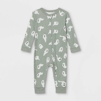 Baby Halloween Ghost Print Matching Family Union Suit - Gray