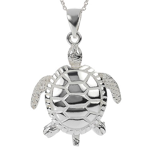 "Women's Journee Collection Sea Turtle Pendant Necklace in Sterling Silver - Silver (18"") - image 1 of 2"