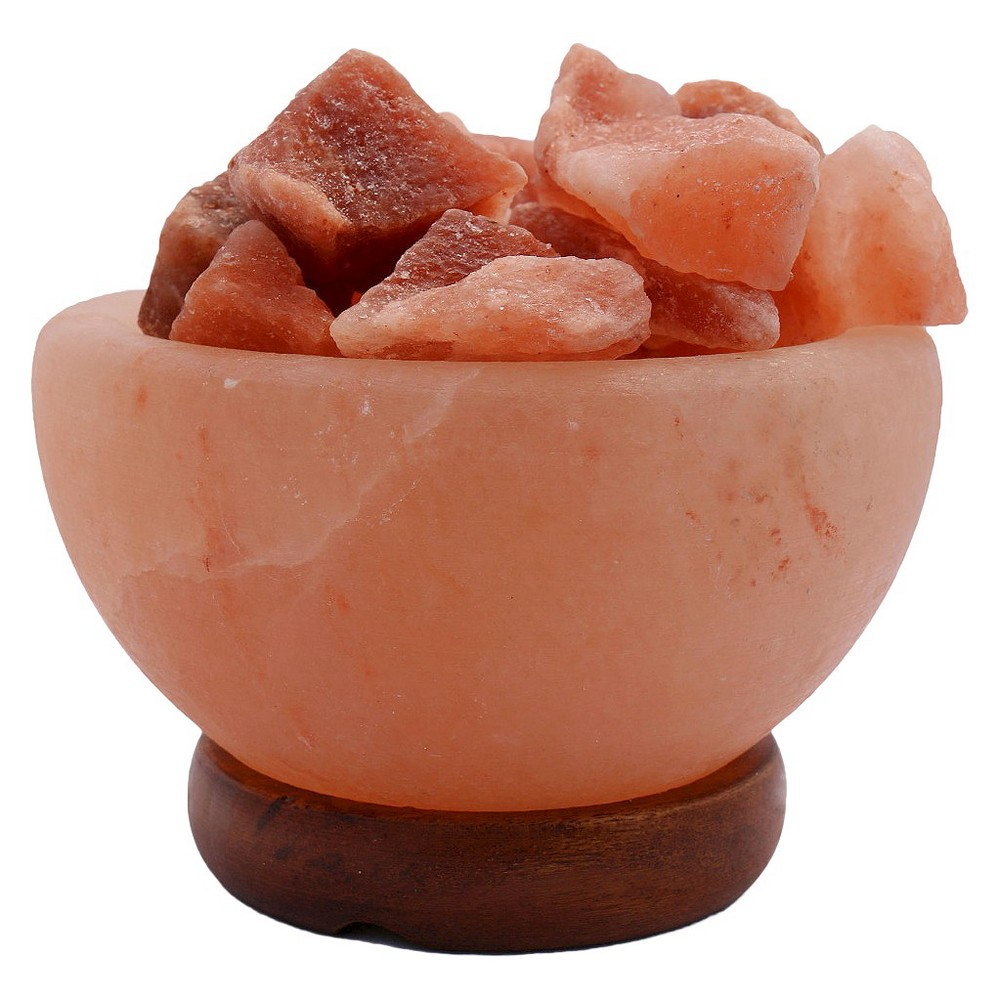 Image of Accentuations by Manhattan Comfort Himalayan Salt Lamp Fire Bowl With Loose Natural Rocks, Beige
