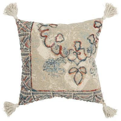 """20""""x20"""" Oversize Medallion Square Throw Pillow Cover Natural - Rizzy Home"""