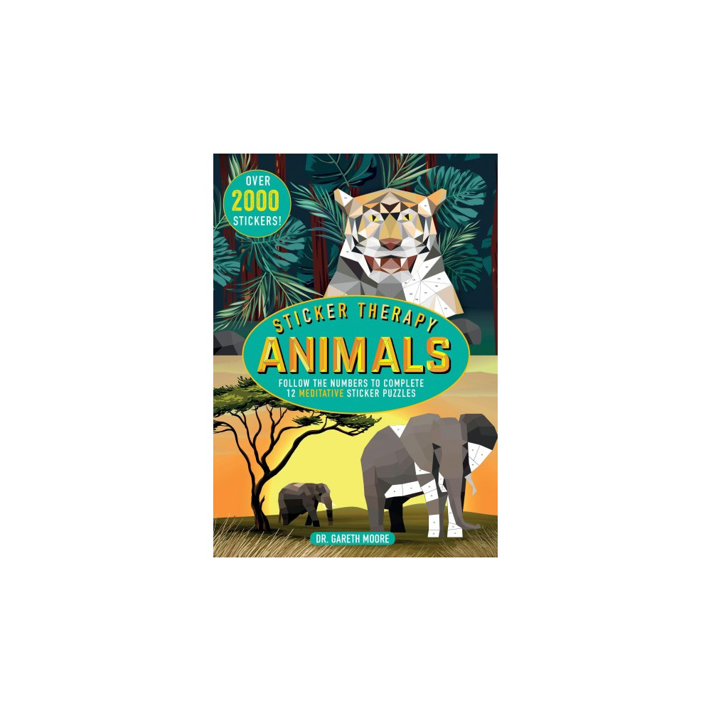 Sticker Therapy Animals : Follow the Numbers to Complete 12 Meditative Sticker Puzzles - (Paperback)