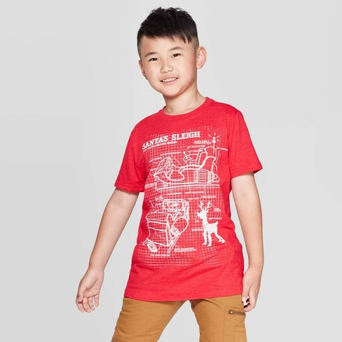 Boys' Short Sleeve Christmas Graphic T-Shirt - Cat & Jack™ Red - image 1 of 3