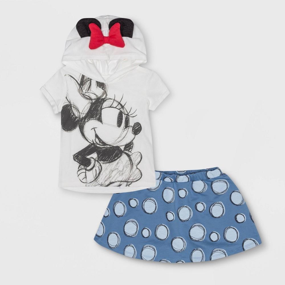 Image of petiteToddler Girls' Minnie Mouse 2pc Short Sleeve Shirt and Skirt Set - White/Blue 3T, Girl's, Blue/White