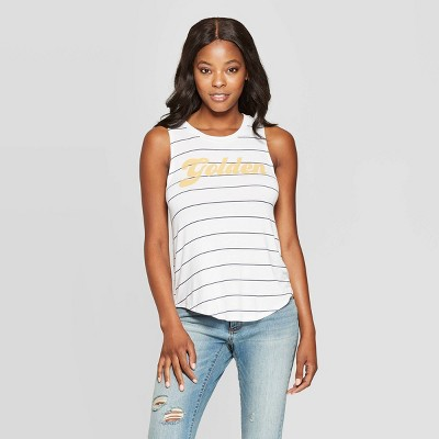 Women's Striped Golden Graphic Tank Top   Grayson Threads (Juniors')   White by Grayson Threads (Juniors')