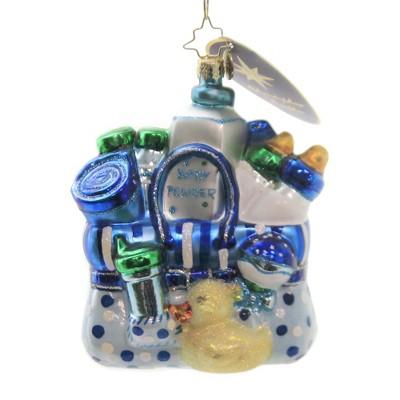 "Christopher Radko 4.5"" Baby Booty Ducky Bottle Boy Christmas  -  Tree Ornaments"