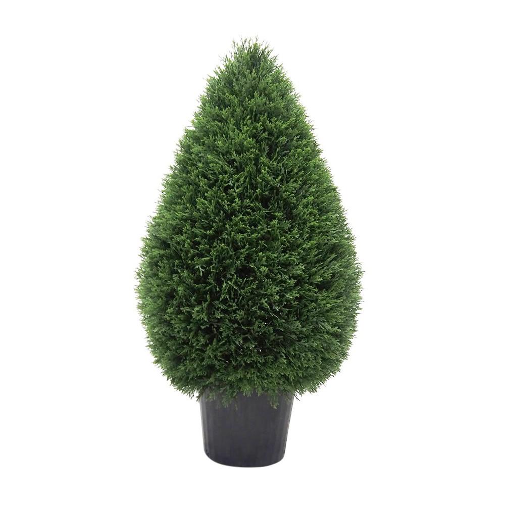 Artificial Cedar Teardrop Shaped In Pot (UV) (36) Green - Vickerman