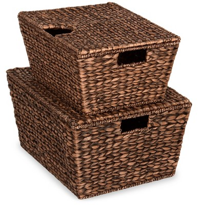 Best Choice Products Set of 2 XL Water Hyacinth Woven Tapered Storage Basket Chests w/ Attached Lid, Handle Hole