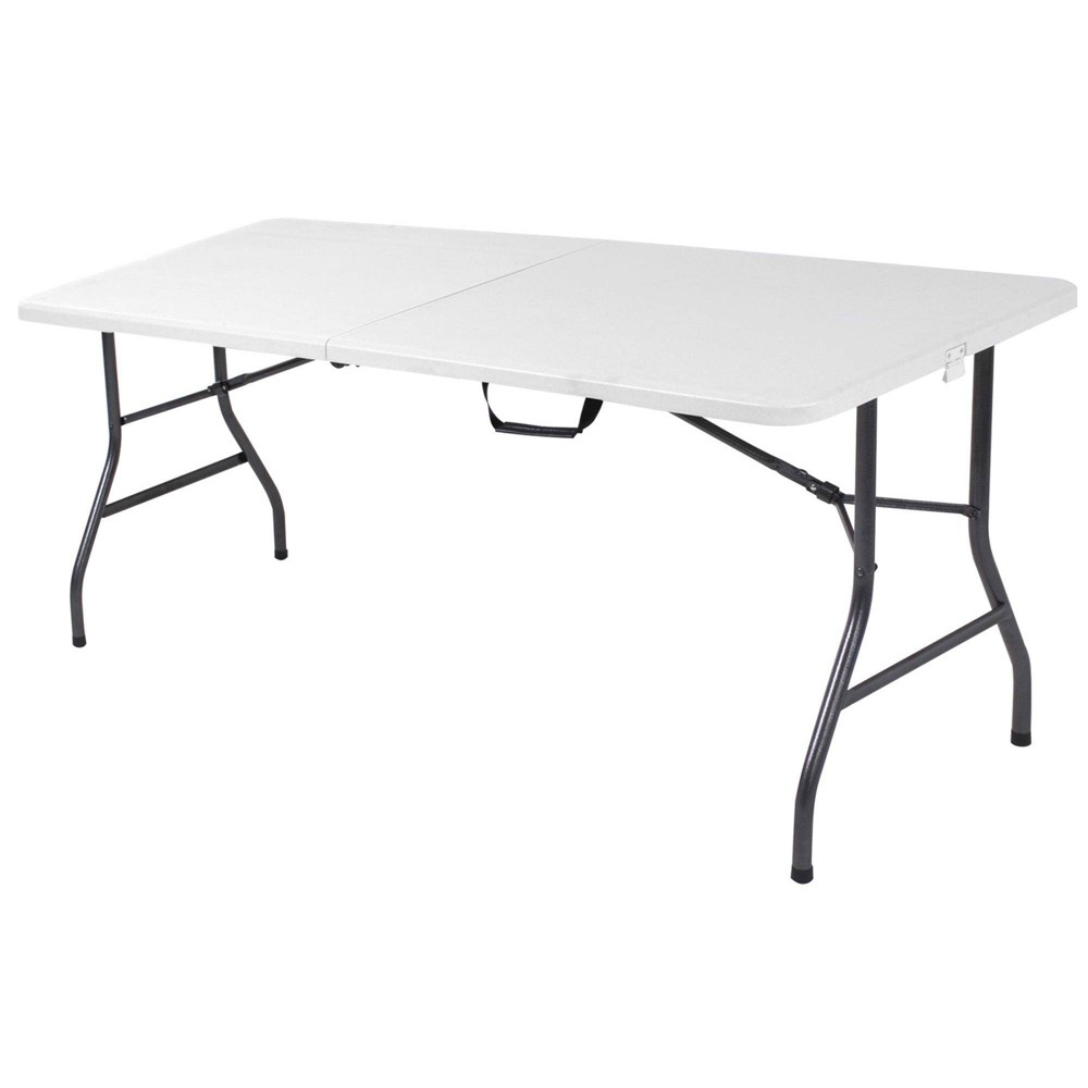 "Image of ""30"""" Fold-in-Half Blow Molded Folding Table White Speckle - Room & Joy"""