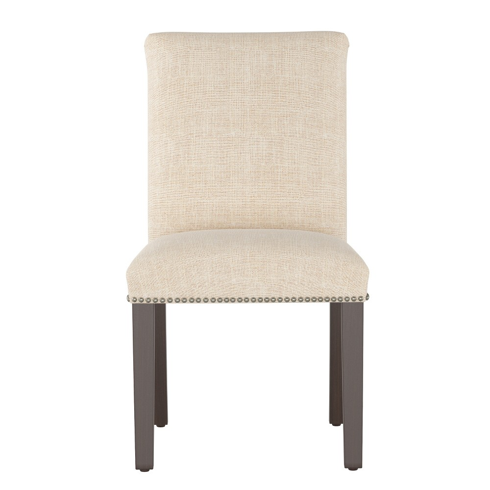 Shelly Nail Button Dining Chair Cream Linen with Brass Nail Buttons - Cloth & Co.