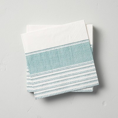 14ct Multi Stripe 3-Ply Cocktail Napkin Teal - Hearth & Hand™ with Magnolia
