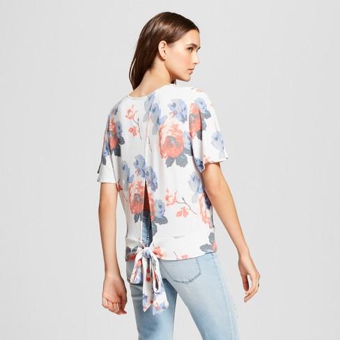 67443409688 Women's Floral Print Short Sleeve Knit Wrap Crop Top - clair White : Target