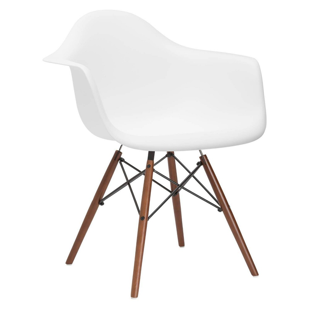 Image of Bianca Mid Century Arm Chair Walnut Leg White - Poly & Bark