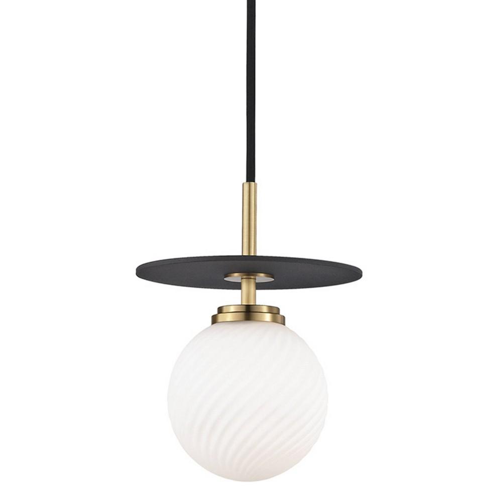 Ellis 1-Light Small Light Pendant Chandelier Aged Brass/Black - Mitzi by Hudson Valley Cheap