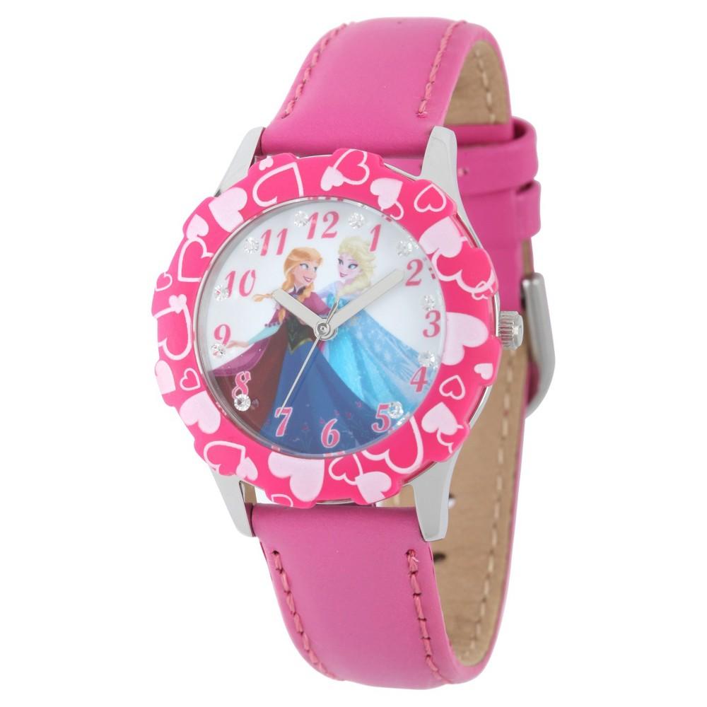 Girls' Disney Frozen Anna and Elsa Stainless Steel Glitz Case and Bezel Watch - Pink