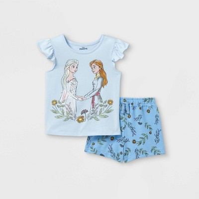 Toddler Girls' Disney Frozen Elsa and Anna Short Sleeve Top and Bottom Set - Blue