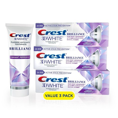 Crest 3D White Brilliance + Advanced Stain Protection Premium Vibrant Peppermint Toothpaste  - image 1 of 4