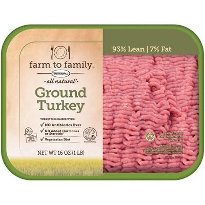 Butterball Farm to Family 93/7 Ground Turkey - 16oz