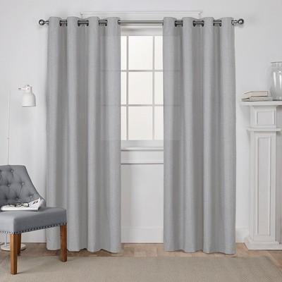 Loha Linen Grommet Top Window Curtain Panel Pair Dove Grey 52x84 - Exclusive Home