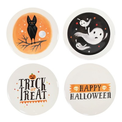 Trick or Treat Halloween Plates 4ct Orange/Black - Hyde and Eek! Boutique™