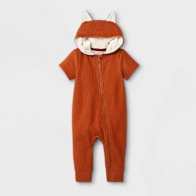 Baby Boys' Fox Short Sleeve Romper - Cat & Jack™ Orange Newborn