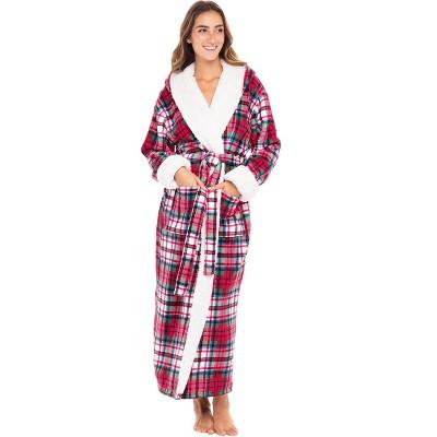 Alexander Del Rossa Women's Warm Sherpa Fleece Hooded Bathrobe