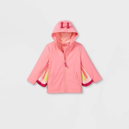 Toddler Girls' Butterfly Print Rain Jacket - Cat & Jack™ Pink - image 1 of 2